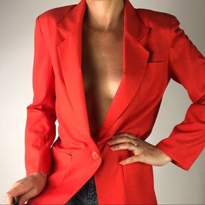 VINTAGE | Orange Red Ligntweight Oversized Blazer